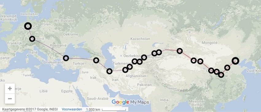 china naar duitsland lopen